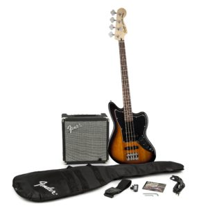 SQUIER JAGUAR BASS SS PACK WITH RUMBLE 15 AMPLIFIER – BROWN SUNBURST